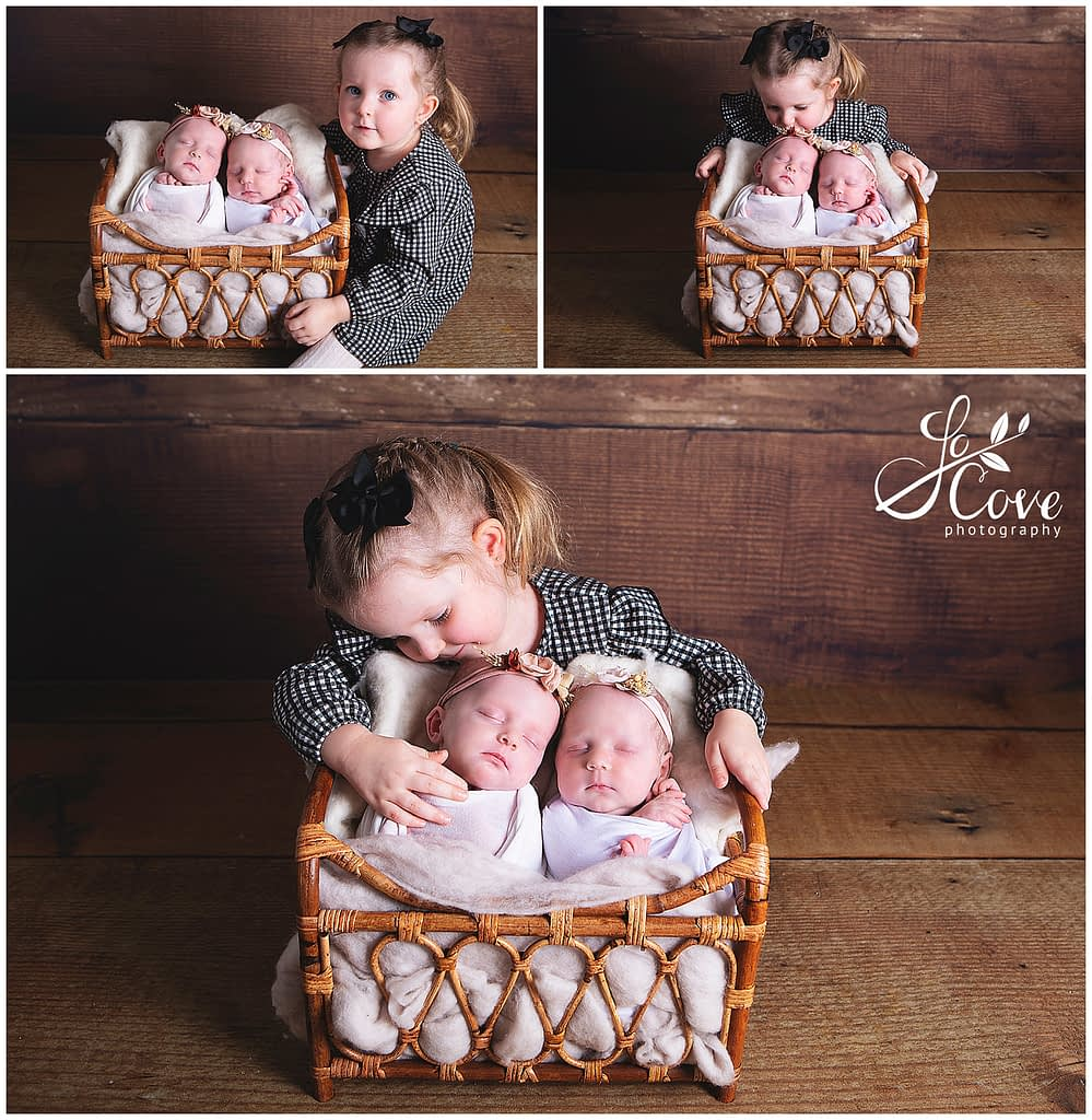 newborn twins and sibling