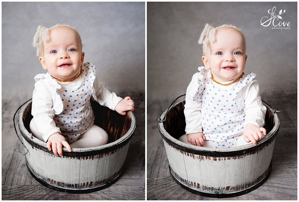 child posed in a bucket