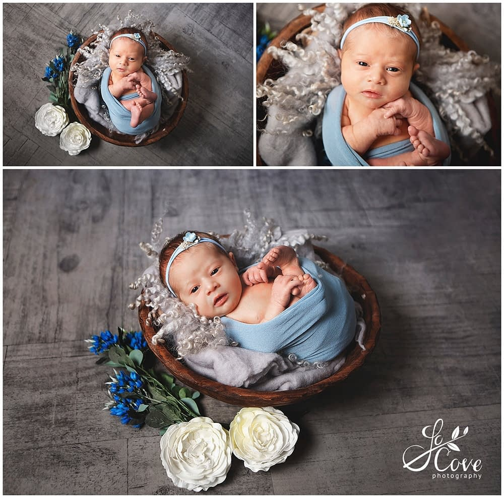baby posed in a bowl