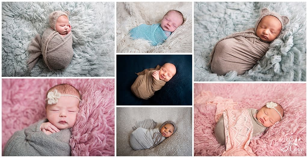 Newborn photography wrapped on bean bag pose