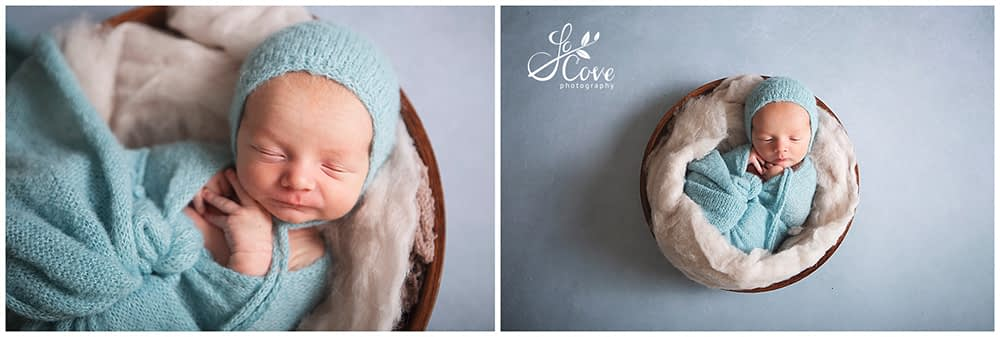 newborn posed in a bowl